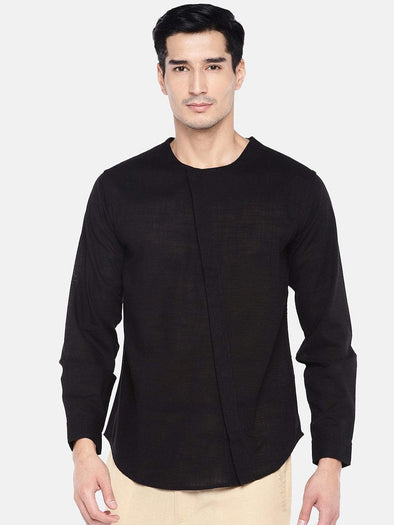 Men's Cotton Black Regular Fit Shirts Cottonworld Men's Shirts