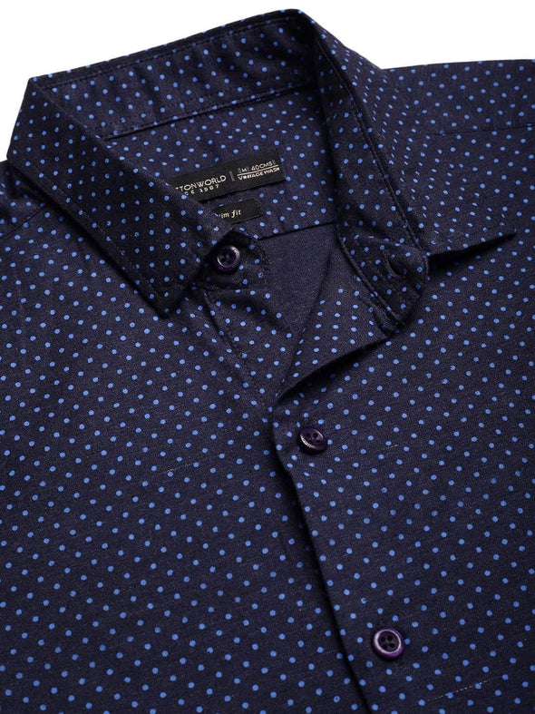 Men's Cotton Black Slim Fit Polka Dotted Melange Printed  Shirt Cottonworld Men's Shirts