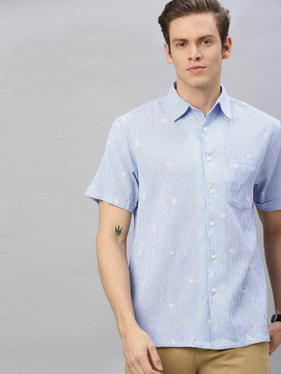 Men's Cotton Blue Regular Fit Embroidered Striped Shirt Cottonworld Men's Shirts