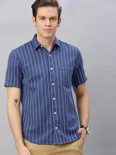 Men's Cotton Blue Regular Fit Striped Shirt Cottonworld Men's Shirts