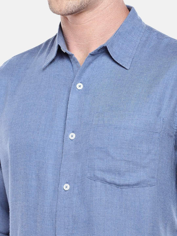 Men's Blue  Melange Regular Fit Shirt Cottonworld Men's Shirts