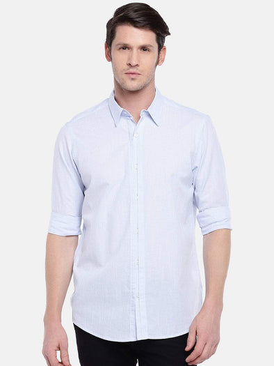 Cottonworld Men's Shirts Men's Cotton Blue Regular Fit Shirts