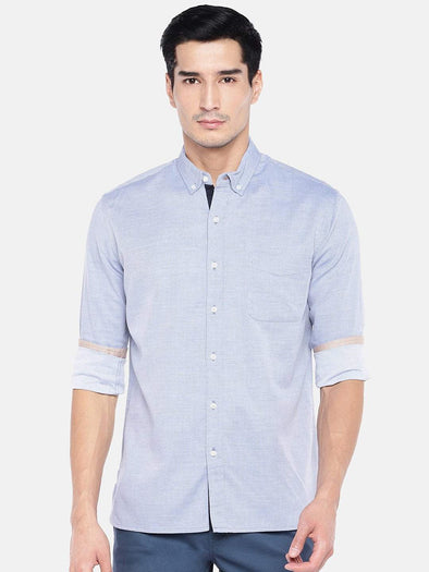 Men's Cotton Blue Regular Fit Melange Shirt With Contrast Fabric Cottonworld Men's Shirts