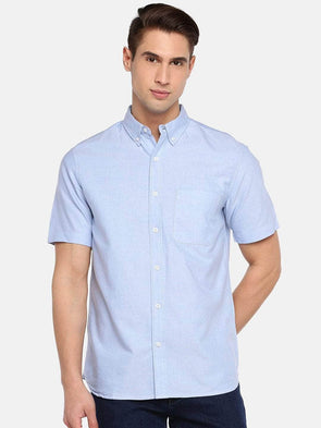 Men's  Blue Regular Fit Cotton Oxford Shirt Cottonworld Men's Shirts