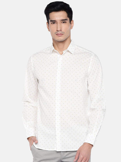 Men's Cotton  Cream Polka Dotted Slim Fit Shirt Cottonworld Men's Shirts