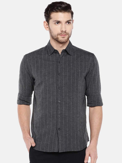 Men's Cotton Flax Black Regular Fit Striped Shirt Cottonworld Men's Shirts