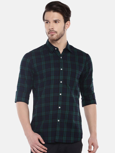 Cottonworld Men's Shirts Men's Cotton Green Regular Fit Shirts