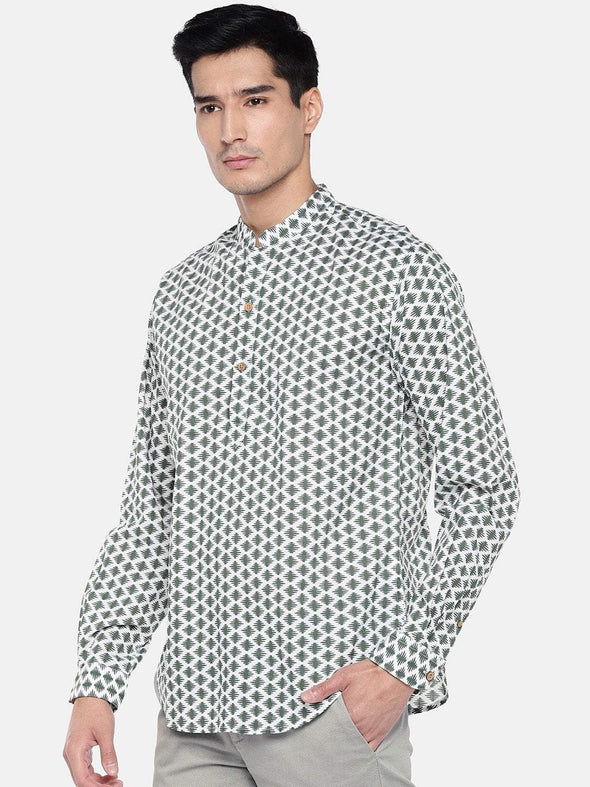 Men's Cotton Green Regular Fit Kurta Shirt Cottonworld Men's Shirts