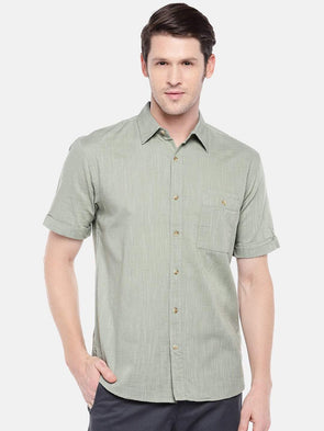 Cottonworld Men's Shirts Men's Cotton Green Slim Fit Shirts
