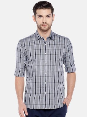 Men's Cotton Grey Regular Fit Shirt Cottonworld Men's Shirts