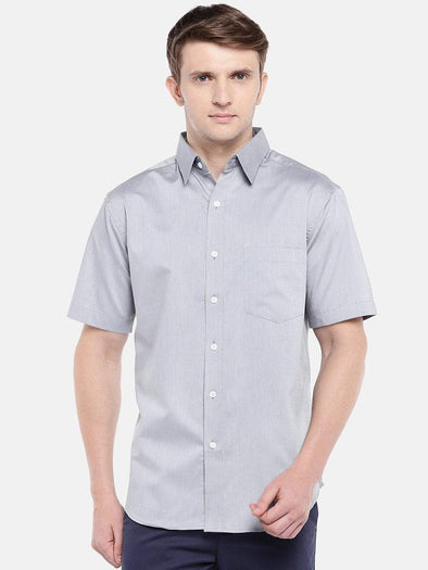 Cottonworld Men's Shirts Men's Cotton Grey Regular Fit Shirts