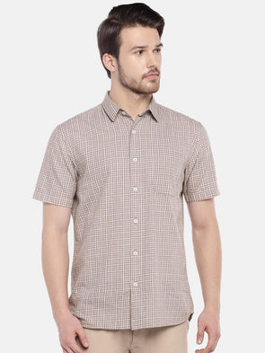 Cottonworld Men's Shirts Men's Cotton Khaki Regular Fit Shirts