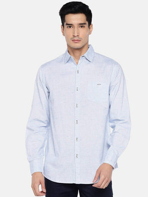 Men's Cotton Linen Blue Regular Fit Shirts Cottonworld Men's Shirts