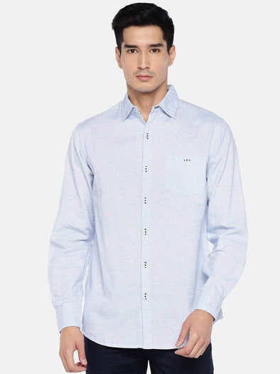 Cottonworld Men's Shirts Men's Cotton Linen Blue Regular Fit Shirts