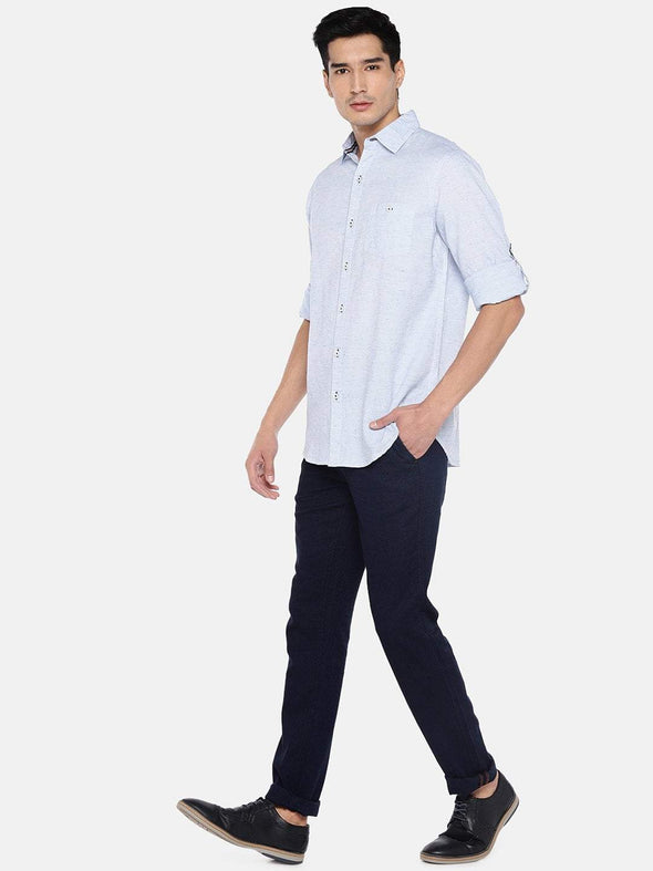 Men's Cotton Linen Blue Regular Fit Shirt Cottonworld Men's Shirts