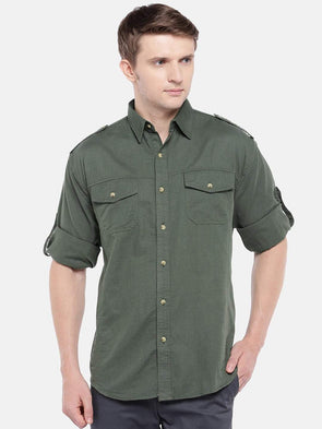 Cottonworld Men's Shirts Men's Cotton Linen Green Regular Fit Shirts