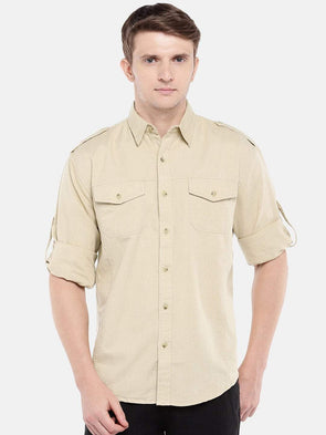 Cottonworld Men's Shirts Men's Cotton Linen Khaki Regular Fit Shirts