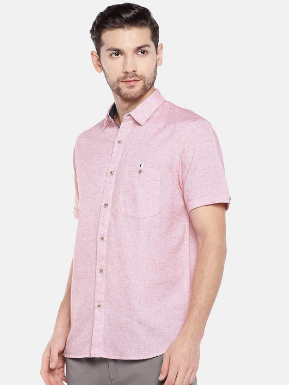 Men's Cotton Linen Red Regular Fit Shirt Cottonworld Men's Shirts