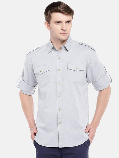 Cottonworld Men's Shirts Men's Cotton Linen Slate Regular Fit Shirts