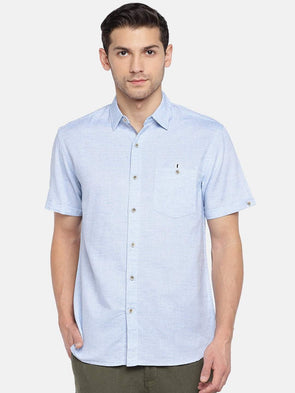 Men's Cotton Linen Woven Blue Regular Fit Shirts Cottonworld Men's Shirts
