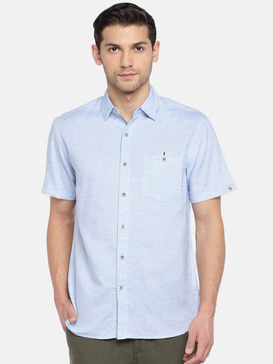 Men's Cotton Linen Woven Blue Regular Fit Shirt Cottonworld Men's Shirts