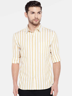 Cottonworld Men's Shirts Men's Cotton Mustard Regular Fit Shirt