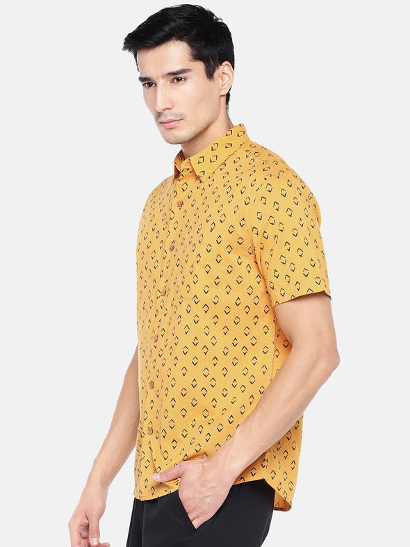 Men's Cotton Mustard Regular Fit Shirts Cottonworld Men's Shirts