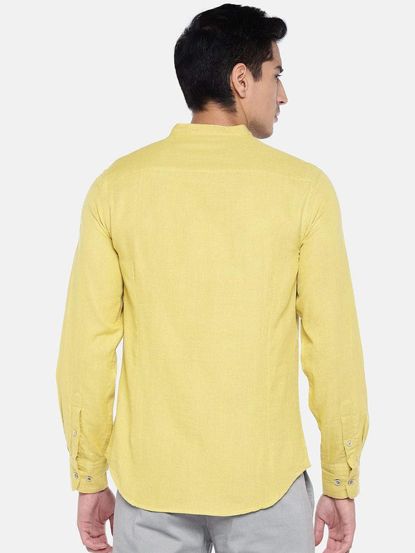 Cottonworld Men's Shirts Men's Cotton Mustard Slim Fit Shirts