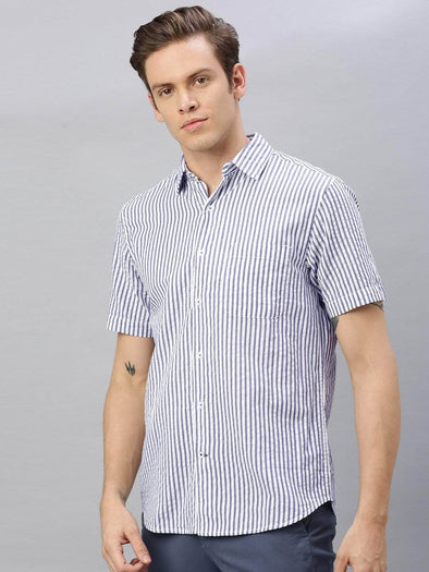 Men's Cotton Navy Regular Fit Seer Sucker Shirt Cottonworld Men's Shirts