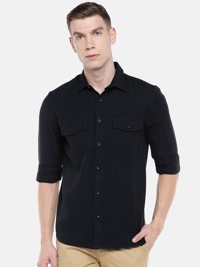 Cottonworld Men's Shirts Men's Cotton Navy Regular Fit Shirts