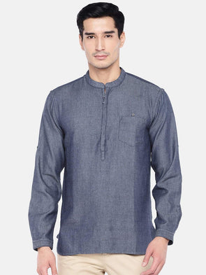 Men's Cotton Navy Regular Fit Kurta Shirt Cottonworld Men's Shirts