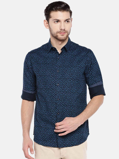 Men's Cotton Navy Slim Fit Shirt Cottonworld Men's Shirts