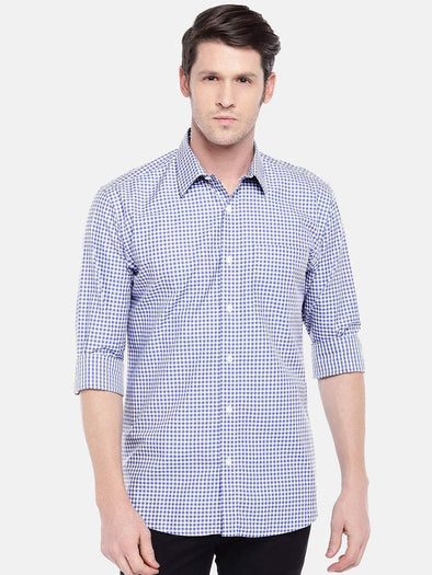 Cottonworld Men's Shirts Men's Cotton Navy Slim Fit Shirts