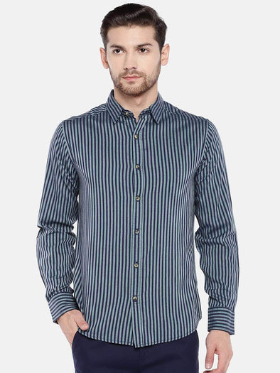 Men's Cotton Olive Slim Fit Striped Shirt Cottonworld Men's Shirts