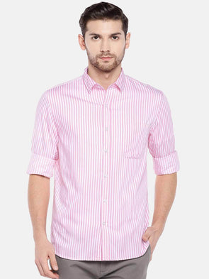 Cottonworld Men's Shirts Men's Cotton Pink Regular Fit Shirt