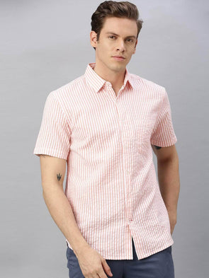 Men's Cotton Pink Regular Fit Striped Seersucker Shirt Cottonworld Men's Shirts