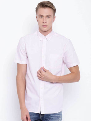 Men's Pink Regular Fit Cotton Oxford Shirt Cottonworld Men's Shirts