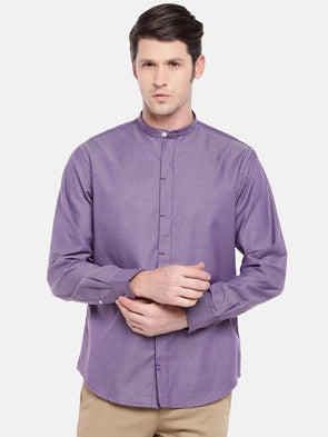 Cottonworld Men's Shirts Men's Cotton Purple Slim Fit Shirts