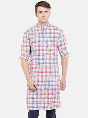 Men's Cotton Red Regular Fit Kurta Shirt Cottonworld Men's Shirts