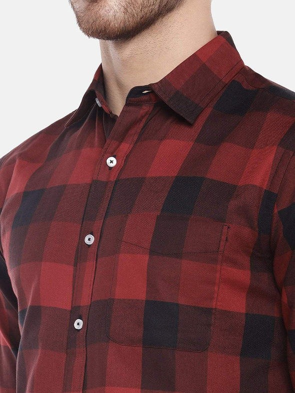 Cottonworld Men's Shirts Men's Cotton Red Regular Fit Shirts