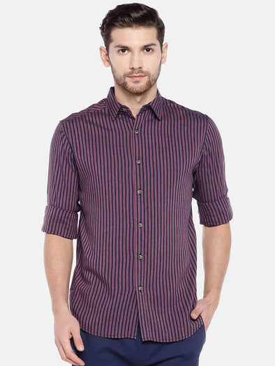 Men's Cotton Rust Slim Fit Striped Shirt Cottonworld Men's Shirts