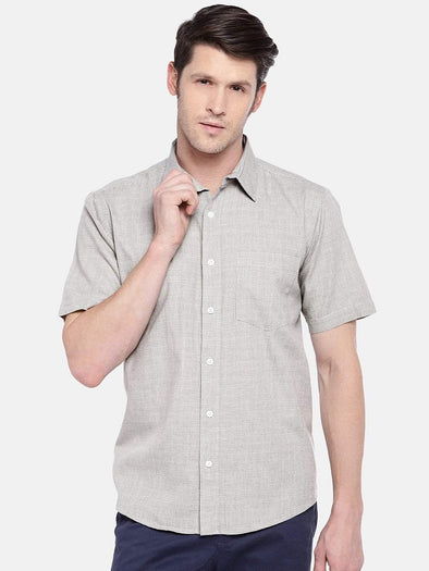 Cottonworld Men's Shirts Men's Cotton Sand Regular Fit Shirts
