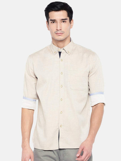 Men's Cotton Sand Regular Fit Melange Shirt With Contrast Fabric Cottonworld Men's Shirts