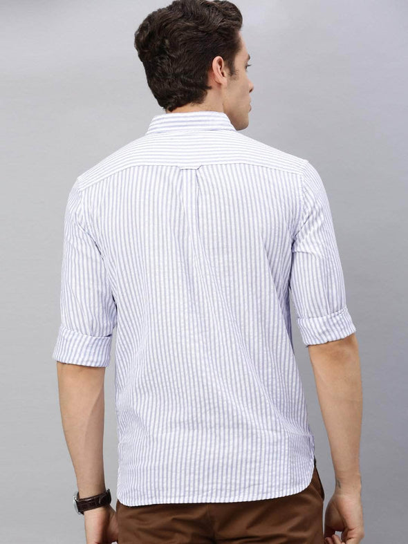 Men's Cotton Sky Regular Fit Pin Striped Seersucker Shirt Cottonworld Men's Shirts