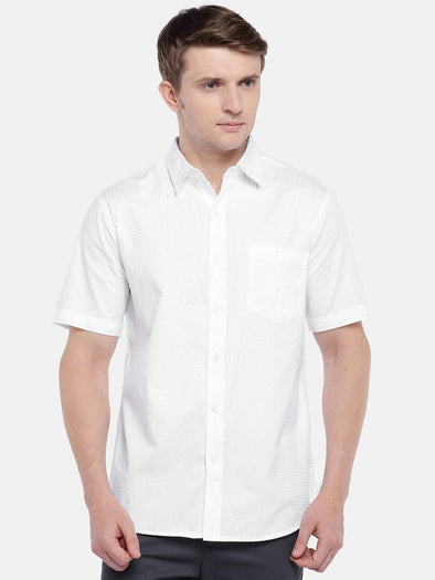 Cottonworld Men's Shirts Men's Cotton White A Regular Fit Shirts