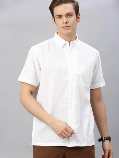 Cottonworld Men's Shirts Men's Cotton White Regular Fit Shirt