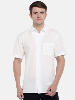 Cottonworld Men's Shirts Men's Cotton White Regular Fit Shirts