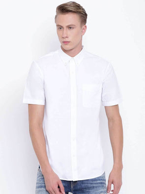 Men's White Regular Fit Cotton Oxford Shirt Cottonworld Men's Shirts