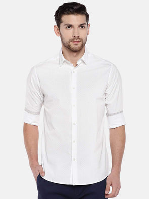 Men's Cotton White Slim Fit Printed  Shirt With Contrast Fabric In  Cuff and  Neck Band Cottonworld Men's Shirts