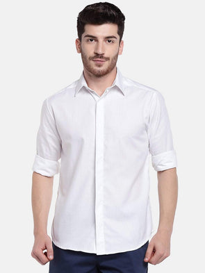 Cottonworld Men's Shirts Men's Cotton White Slim Fit Shirts
